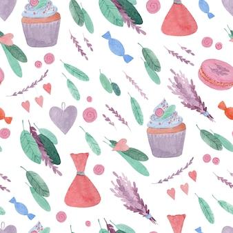 白い背景のお菓子や花とシームレスな水彩パターン