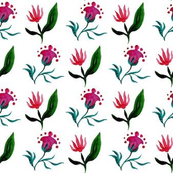 흰색 배경에 튤립과 환상의 꽃과 원활한 수채화 패턴