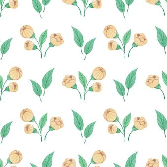 노란 꽃과 잎으로 원활한 수채화 패턴