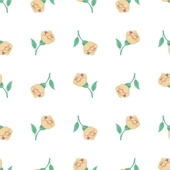 노란색 꽃으로 완벽 한 수채화 패턴