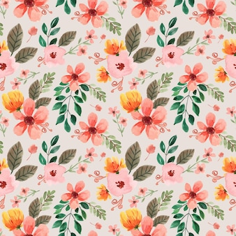 Seamless watercolor pattern with yellow peonies and pink floral