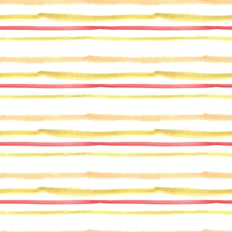 Seamless watercolor pattern with yellow and red stripes