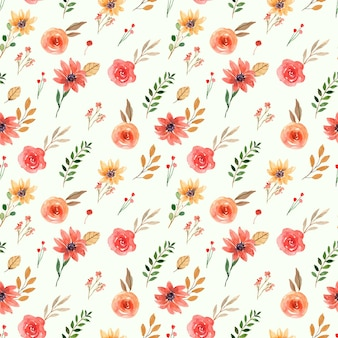 Seamless watercolor pattern of yellow and orange spring florals