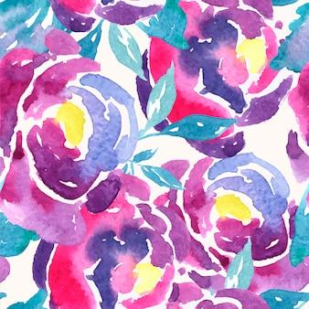 シームレスな水彩ローズ花柄
