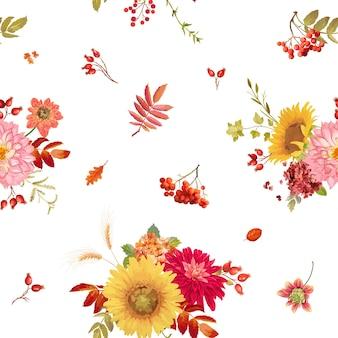원활한 수채화 벡터 가을 꽃 배경, 추수 감사절 꽃 패턴 오렌지 수국, 고사리, 달리아, 붉은 로완 베리, 해바라기, 인쇄, 벽지, 직물을 위한 가을 잎 컬렉션