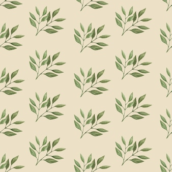Seamless watercolor vector pattern with wild forest leaves.
