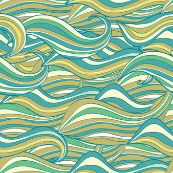 Рисованный узор бесшовные волны, фон волны. может использоваться для обоев, узоров, фона веб-страниц, текстур поверхности