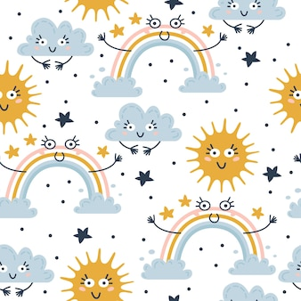 Seamless weather pattern vector illustration for kids