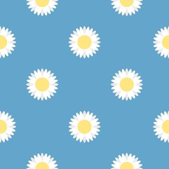 Seamless white flower pattern on blue background vector.