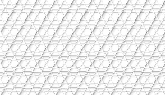 Seamless white geometric hexagonal pattern with flats style shadows