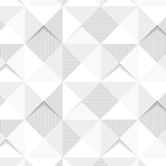 Seamless white geometric triangle patterned background
