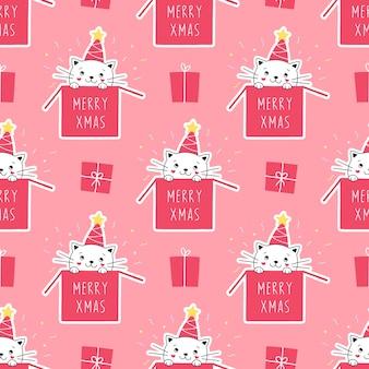 ボックスのシームレスな白い子猫クリスマスプレゼントギフト
