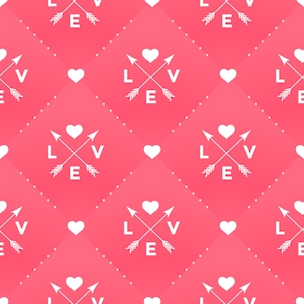 Seamless white pattern with love, heart and arrow in vintage style on a red background for valentine day.  illustration.