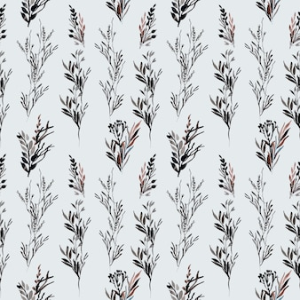 Seamless wild floral black watercolor pattern