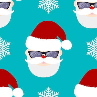Seamless winter background with Santa Claus