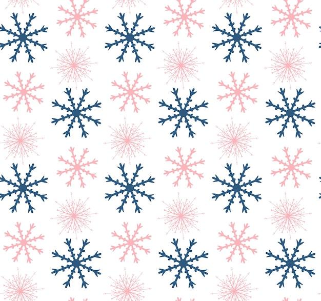 テクスチャ、背景を繰り返す雪片とシームレスな冬の背景。ベクトルイラスト。
