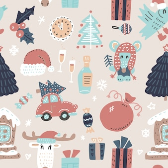 Seamless winter holidays pattern with funny cartoon deer,
