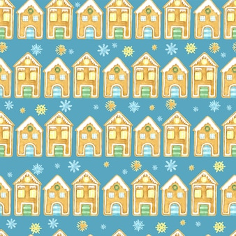 Seamless winter pattern. christmas watercolor design. hand drawn gingerbread houses and snowflakes