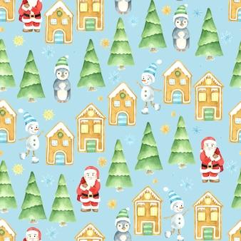 シームレスな冬のパターン。クリスマスの水彩画。手描きのサンタクロース、雪だるま、ペンギン、ジンジャーブレッドハウス。