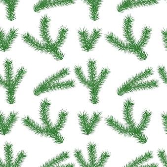 흰색 바탕에 크리스마스 트리 분기와 원활한 겨울 패턴 반복 배경