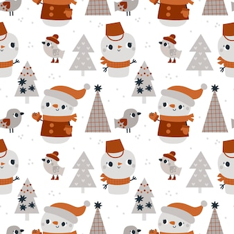 Seamless winter pattern with christmas tree snowman characters and birds for kids