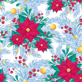 Seamless winter pattern with poinsettia, red berries, christmas tree branches and golden balls.