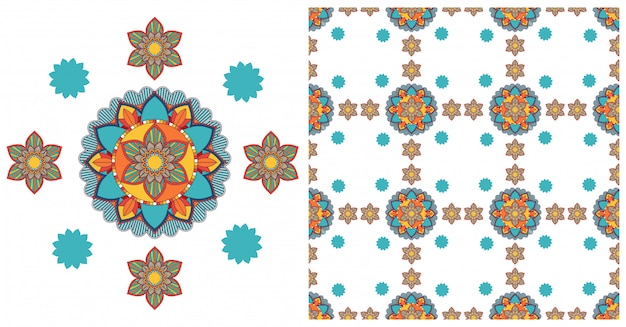 Seamless with colorful mandalas pattern