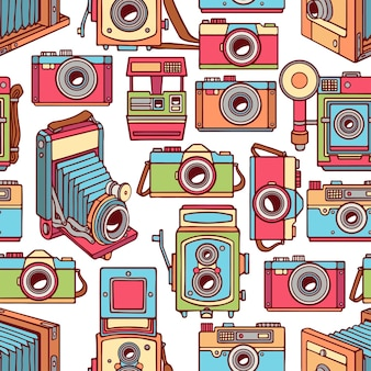 Seamless with different vintage colorful cameras. hand-drawn illustration