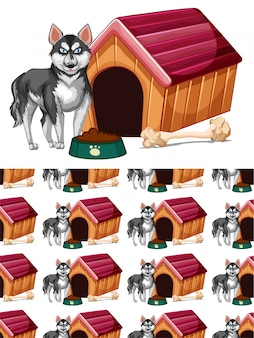 Бесшовные с собакой и собачью будку