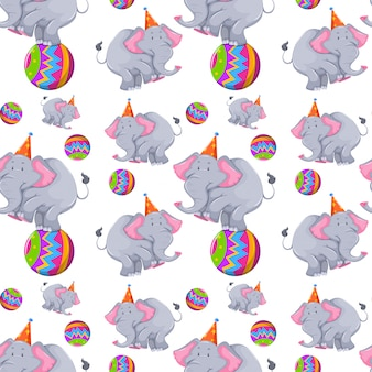Seamless with elephants on ball pattern