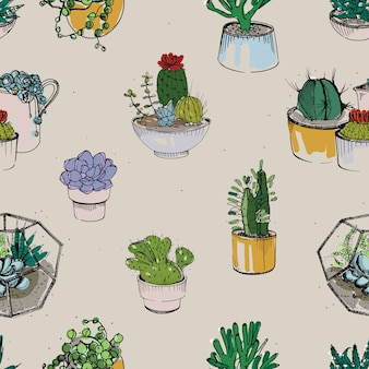Seamless with various hand drawn succulent and cactus plants