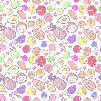 Seamless with various tropical fruits on white Premium Vector