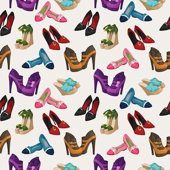 Бесшовные женской моды обувь шаблон фон векторные иллюстрации