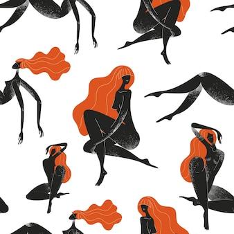 Бесшовные модели силуэтов женщин. международный женский день. черный и красный, красота, уход за телом фон