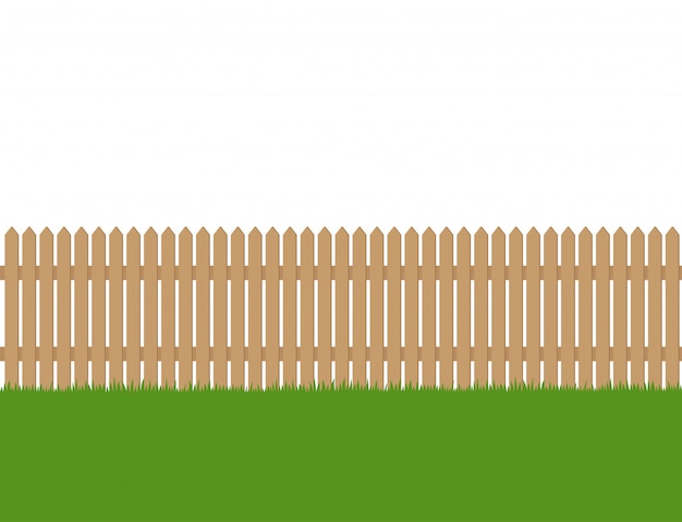 Seamless of wooden fence and green grass