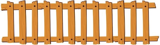 白い背景の上のシームレスな木製の柵