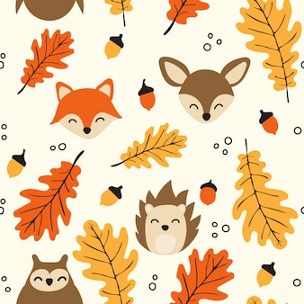 Seamless woodland pattern with cute animals