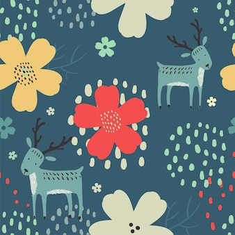 Seamless woodland pattern with cute hand drawn deer