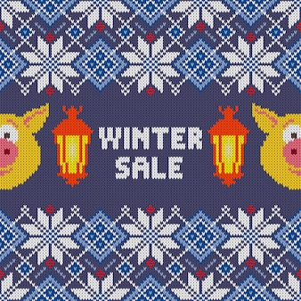 Seamless woolen knitted christmas pattern