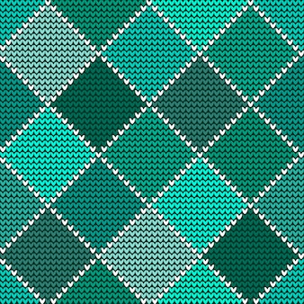 Seamless woolen knitted pattern green harlequin