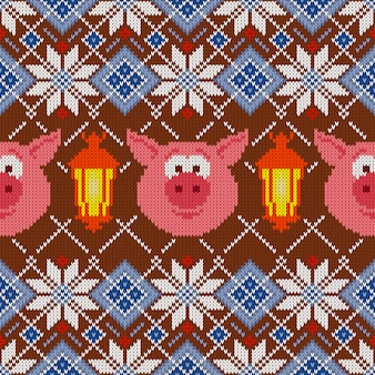Seamless woolen knitted pattern with pigs and lanterns