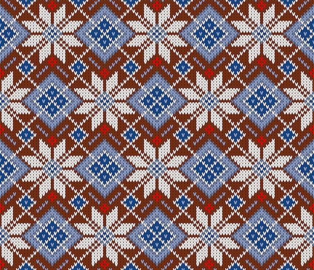 Seamless woolen knitted scandinavian sweater pattern
