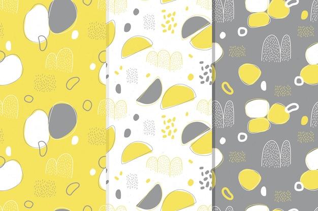 シームレスな黄色と灰色のパターンコレクション