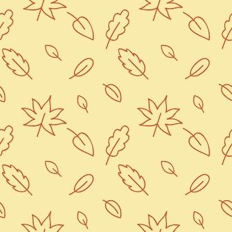 オーク、白樺、カエデ、木の葉とのシームレスな黄色の秋のパターン。ウェブページ、テキスタイル、衣類、壁紙の無限の背景。落書きのスタイルで休日。ベクトルの外形図