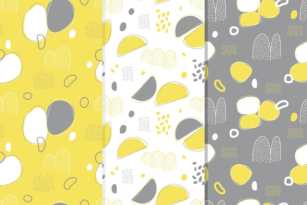 Seamless yellow and gray pattern collection Free Vector