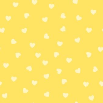 원활한 노란색 하트 패턴 벡터