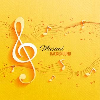 음악 노트와 키 원활한 노란색 패턴입니다.