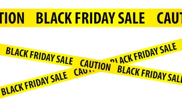 Seamless yellow tape - black friday sale. caution symbol.