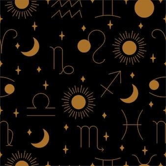 Бесшовный узор зодиака в золоте и черном в векторе