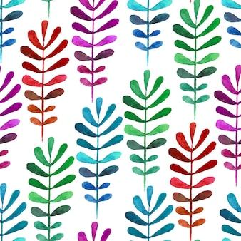 マルチカラーの水彩画の葉でシームレスパターン